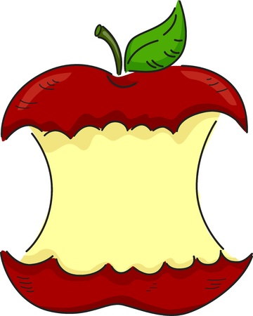 partially: Illustration of a Red Apple Partially Bitten