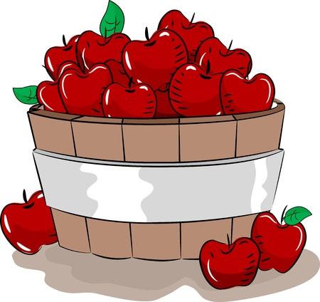 manzana caricatura: Ilustración de un cubo de madera lleno de manzanas rojas