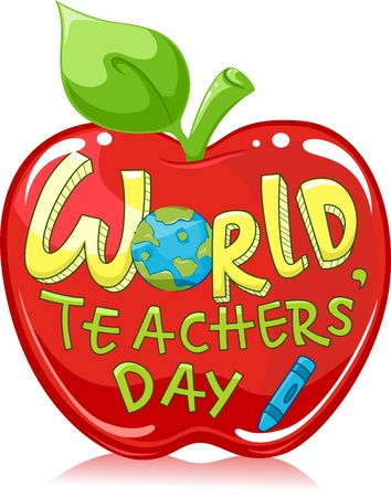 educativo: Ilustración de una manzana roja grande con los Maestros de los Mundos Words Foto de archivo