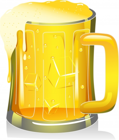 overflowing: Illustration of a Beer Mug Overflowing with Beer
