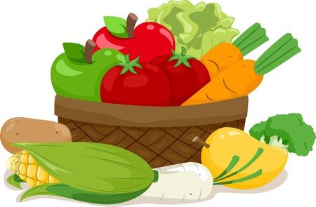 canasta de frutas: Ilustraci�n de una cesta de madera llena de una variedad de frutas y hortalizas