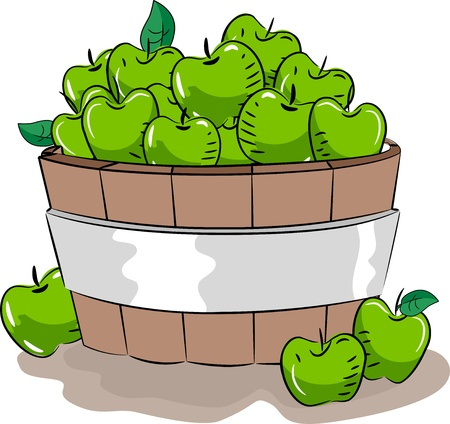 wooden bucket: Illustration of a Wooden Bucket Full of Green Apples Stock Photo