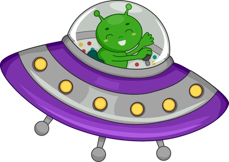 cartoon alien: Illustration of a Green Alien Piloting a Spaceship