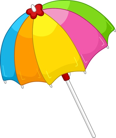Illustration of an Open Colorful Beach Umbrella