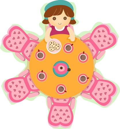 tea party: Illustration of a Pink Doll Tea Party Set