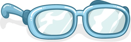 bifocals: Illustration of a Pair of Blue Eyeglasses Stock Photo