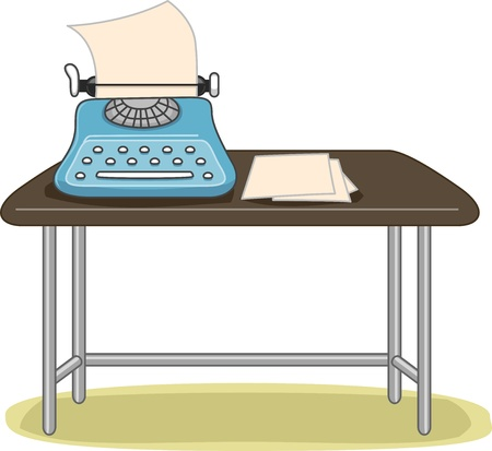 typing machine: Illustration of a Blue Old-Fashioned Typewriter with a Blank Paper Pressed Against it Stock Photo