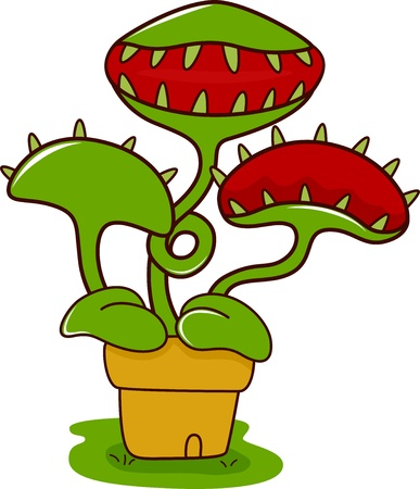 carnivorous: Illustration of a Venus Flytrap with its Mouth Wide Open Stock Photo