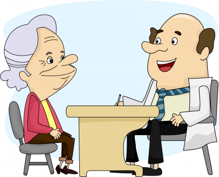 consultation: Illustration of an Old Lady having a Consultation with her Doctor