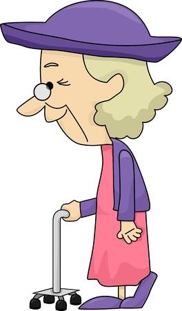damas antiguas: Ilustración de una señora mayor con Bastón Foto de archivo