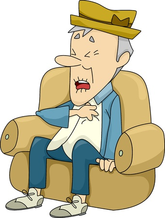 health elderly: Illustration of Old Man Sitting on a Couch Experiencing a Heart Attack Stock Photo