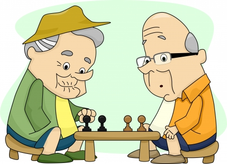 cutout old people: Illustration of Two Old Men Playing Chess Stock Photo