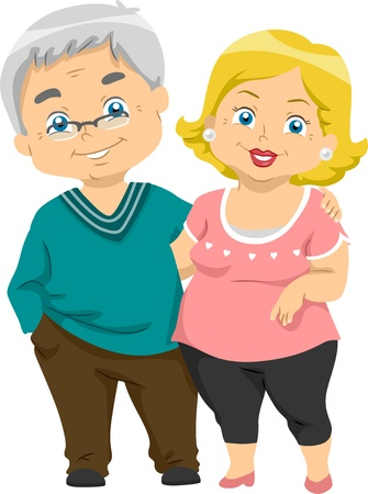 senior couples: Illustration of Happy Senior Couples