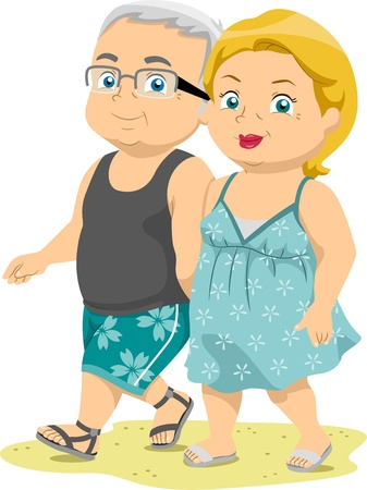 health elderly: Illustration of Senior Couples Taking a Walk on the Beach Stock Photo