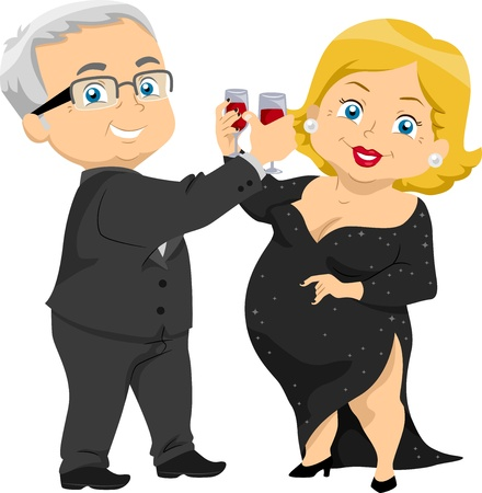 Illustration of Senior Couple Having a Toast at a Party illustration