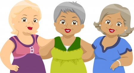 mixed race girl: Illustration of Lady Senior Citizens Friends