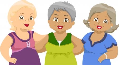 damas antiguas: Ilustración de amigas Tercera Edad