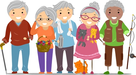 happy old age: Illustration of Stickman Senior Citizens  Stock Photo