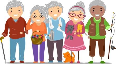 vejez feliz: Ilustración de Ciudadanos Mayores de Stickman