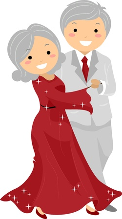 happy old age: Illustration of Stickman Senior Couple Ballroon Dancing