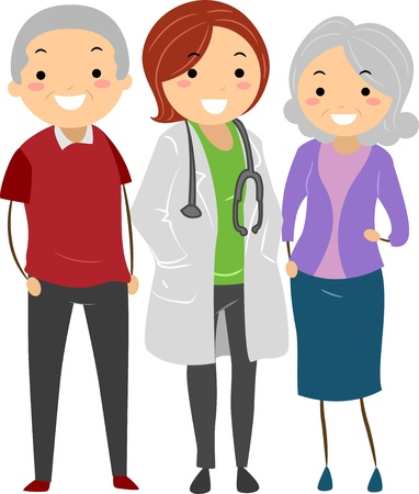 Illustration of Stickman Senior Couple with their Doctor  illustration