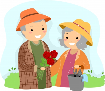 Illustration of Stickman Senior Couple Gardening illustration