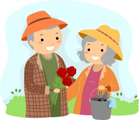 health elderly: Illustration of Stickman Senior Couple Gardening
