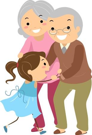 bonhomme allumette: Illustration du couple grand-parent de Stickman avec leurs petits-enfants
