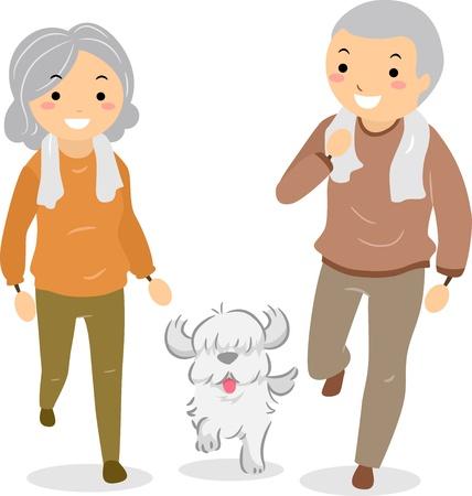 bonhomme allumette: Illustration de Stickman Couple senior promenaient leur chien