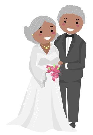 elder: Illustration of Stickman Senior Couple Wedding