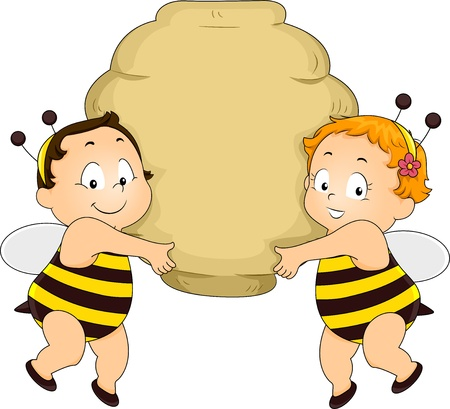 Happy Boy and Girl Babies in Bee Costume holding a Beehive