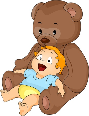 cuddly baby: Happy Baby Boy leaning on a Big Brown Toy Bear
