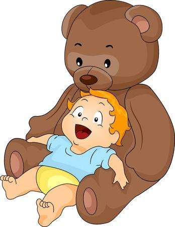cuddly baby: Happy Baby Boy leaning on a Big Brown Toy Bear