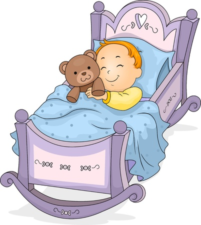 bedtime: Happy Baby Boy Sleeping on a Cradle cuddling a Teddy Bear