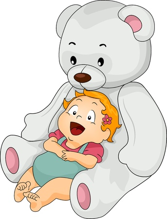 cuddly: Happy Baby Girl leaning on a Big White Toy Bear Stock Photo