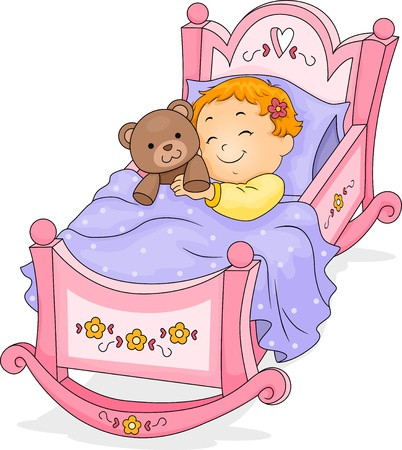 asleep: Happy Baby Girl Sleeping on a Cradle cuddling a Teddy Bear Stock Photo