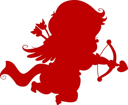 14 of february: Red Silhouette Cupid with Bow and Arrow