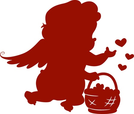 basketful: Silhouette Cupid with Basketful of Hearts Stock Photo