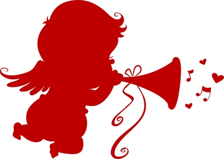 Silhouette Cupid playing a Trumpet photo