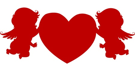 Silhoutte Male Cupids holding a big Heart photo