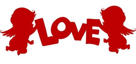 cherub: Silhouette Cupids holding a LOVE Banner Stock Photo