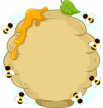 swarm: Board Illustration of a Beehive Surrounded by Bees