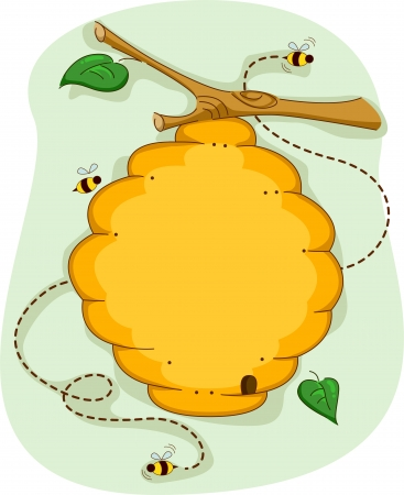 bee swarm: Board Illustration of a Beehive Surrounded by Bees