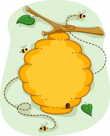 abeja caricatura: Junta Ilustración de una colmena rodeada por las abejas