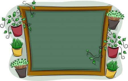 blackboard cartoon: Illustration of a Wooden Board Surrounded by Plants Stock Photo