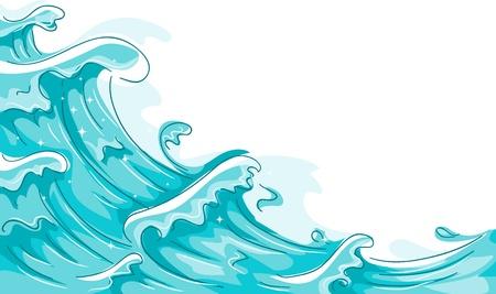 mare agitato: Illustrazione delle onde che si infrangono contro uno sfondo bianco