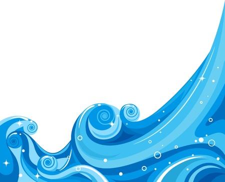 ocean waves: Illustration of Waves Splashing Against a White Background Stock Photo