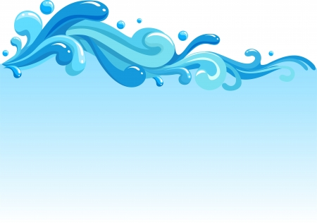 surf wave: Illustration of Waves Splashing Against a White Background Stock Photo