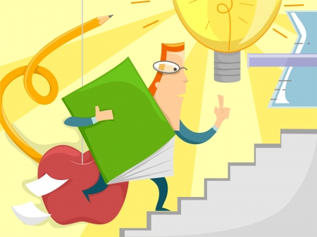 continuing education: Illustration of a Male Teacher Carrying an Oversized Book Running Up a Flight of Stairs