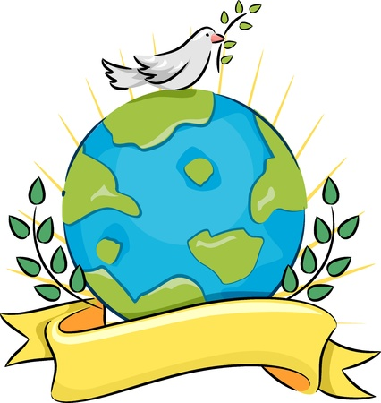 advocacy: Illustration of a Dove Carrying an Olive Branch Standing on Top of a Globe